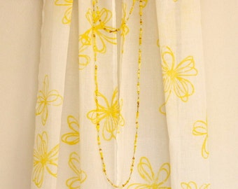 Crazy Daisy yellow block printed cotton scarf