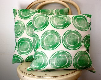 Block printed Green African Motif scatter cushion cover