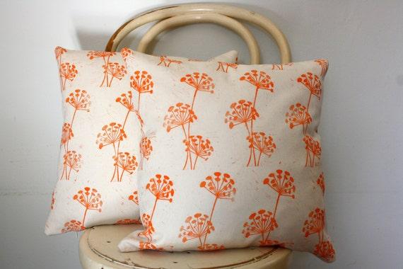 Block printed orange persimmon seedling cushion cover
