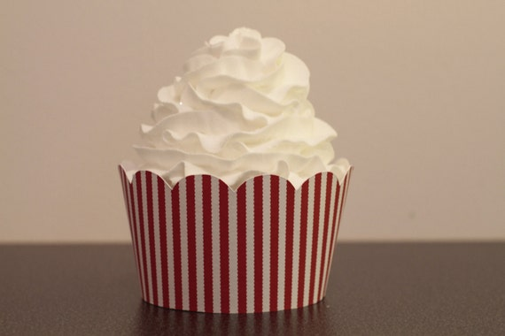 Red and White Small Striped Cupcake Wrappers