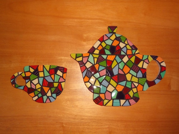 Mosaic Teapot Teacup kitchen art modern mosaic retro art coffee art