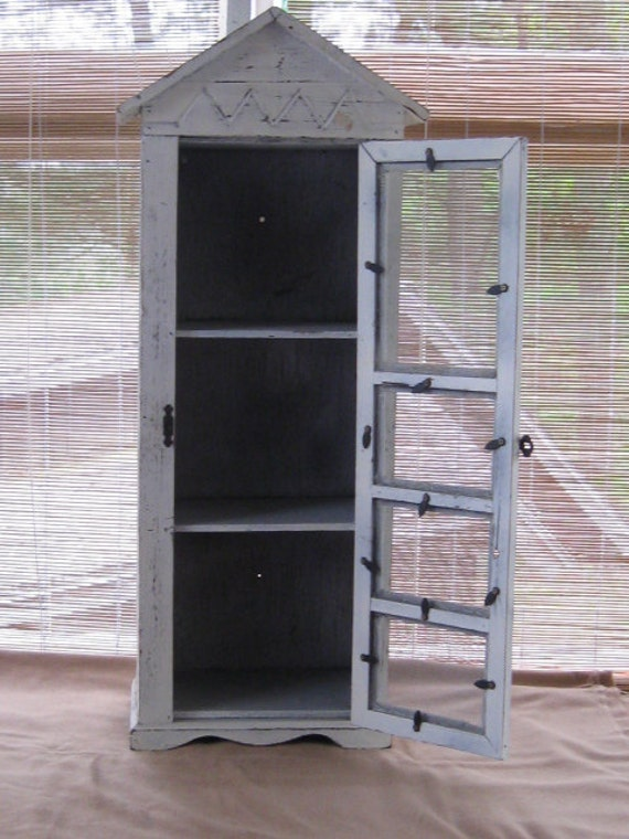 Shabby Chic Wood Cabinet with Screen Door.