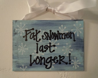 HOLIDAY CLEARANCE--hand-painted 5x7 canvas with fun winter message