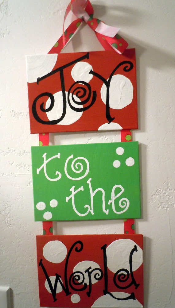 Christmas Decoration-  Three 5x7 hand-painted canvas plaques connected with festive ribbon