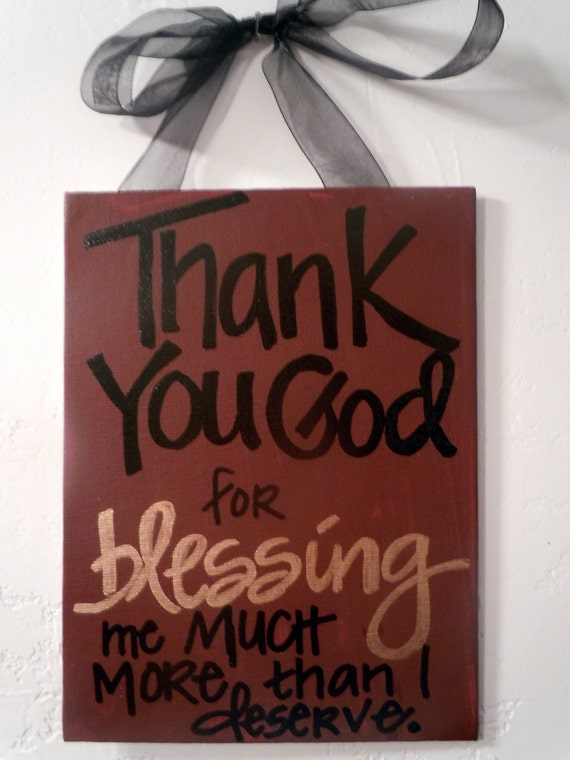 Hand-painted 6x8 canvas plaque with prayer of thanks