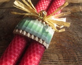 """2 Handmade """"Cranberry"""" colored BEESWAX Tapers"""
