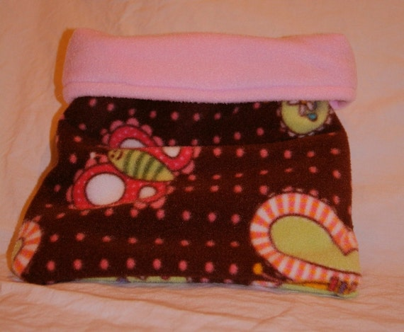 SALE Brown and Pink Butterfly Fleece Snuggle Bag
