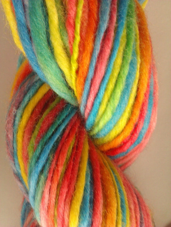 Always chasing rainbows. Handspun art yarn.  Hand dyed and hand spun Pure Australian 21 micron merino.