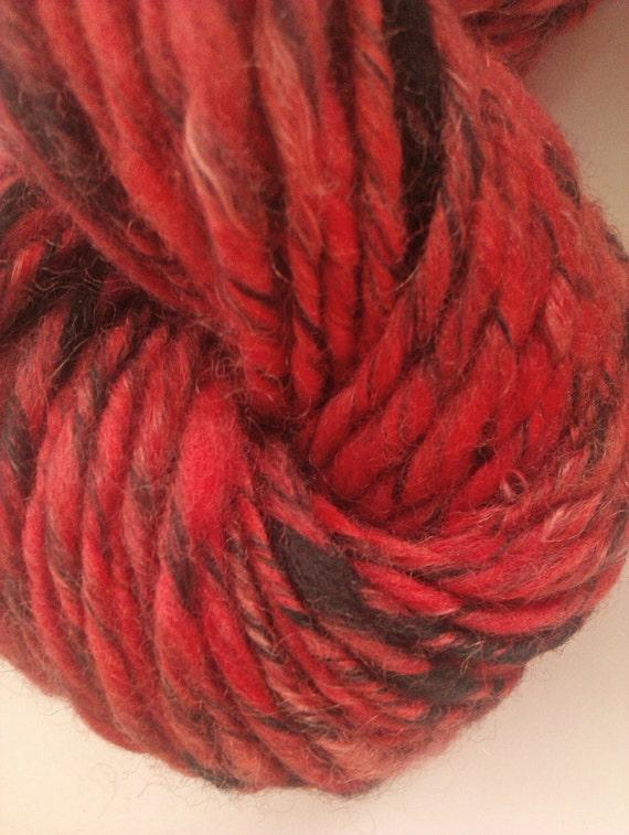 Ruff'n'reddy mohair and merino. Hand spun art yarn. Handspun.  Red and black. 21 micron Australian merino wool with Fine kid mohair.