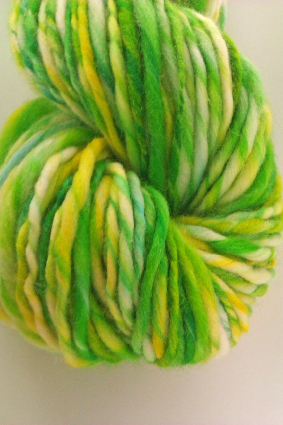Healthy greens thick and thin -  Hand painted hand spun pure Australian merino wool slub yarn 19 micron - 70s. Superwash
