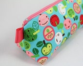 Knitting Notions pouch, pencil bag or make up bag.  Appleville, cute apples pink