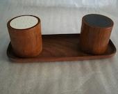 dANISH MODERN teak wood DIGsmed saLt pePpeR NapKIN holder eames era