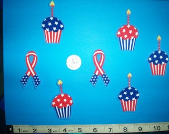 Patriotic Cupcake and Ribbon's Iron-ons