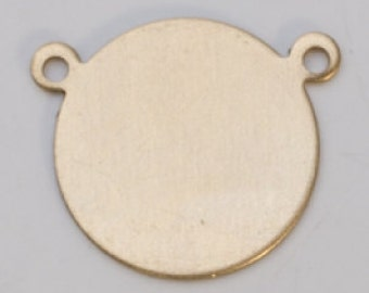 """Brass Circle with 2 Rings 5/8""""  24ga PKG of 6 Great Stamping Accessory"""