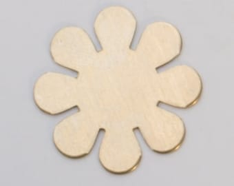 "Brass 8 Petal Flower 15/16""  24ga PKG of 6 Great Stamping Accessory"