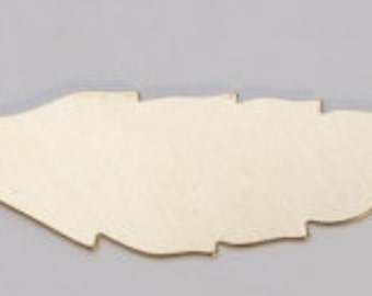 Brass Feather 45mm by 15mm  24ga PKG of 6 Great Stamping Accessory