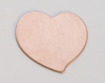 "Copper Heart 3/4"" by 3/4""  24ga PKG of 6 Great Stamping Accessory"