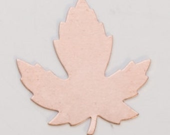 Copper Maple Leaf 29mm by 28mm  24ga PKG of 6 Great Stamping Accessory