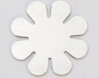 "Nickel Silver Flower with 8 Petals 15/16""  24ga Pkg of 6  Great Stamping Accessory"