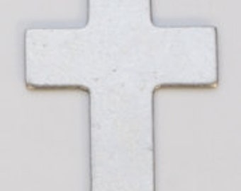 """Nickel Silver Cross with Ring 5/8"""" by 1""""  24ga Package of 6"""