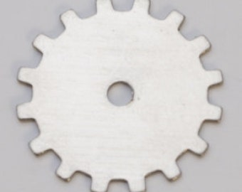 """Nickel Silver Solid Gear 3/4"""" 24ga Package of 6 Great Stamping Accessory"""