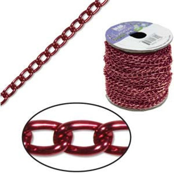 20 Foot Spool Red Aluminum Curb Chain 6 x 3.6mm WIDE