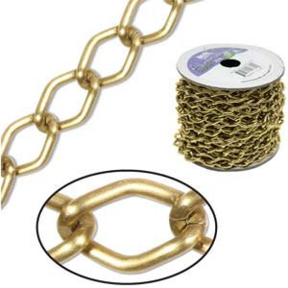20 Foot Spool of Matte Gold Aluminum Curb Chain 14.4 x 9mm Wide