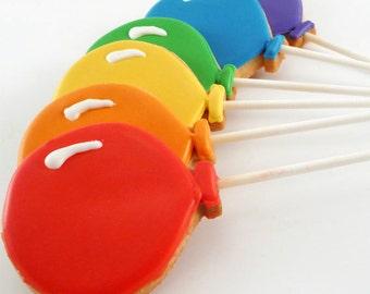 Decorated Cookies - Cookie Pops - Balloons - 1 dozen