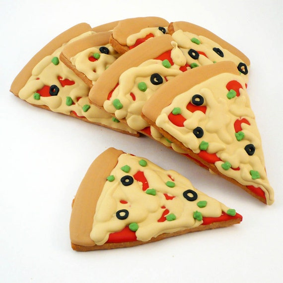 Decorated Cookies - Pizza - Pizza Party - 8 cookies