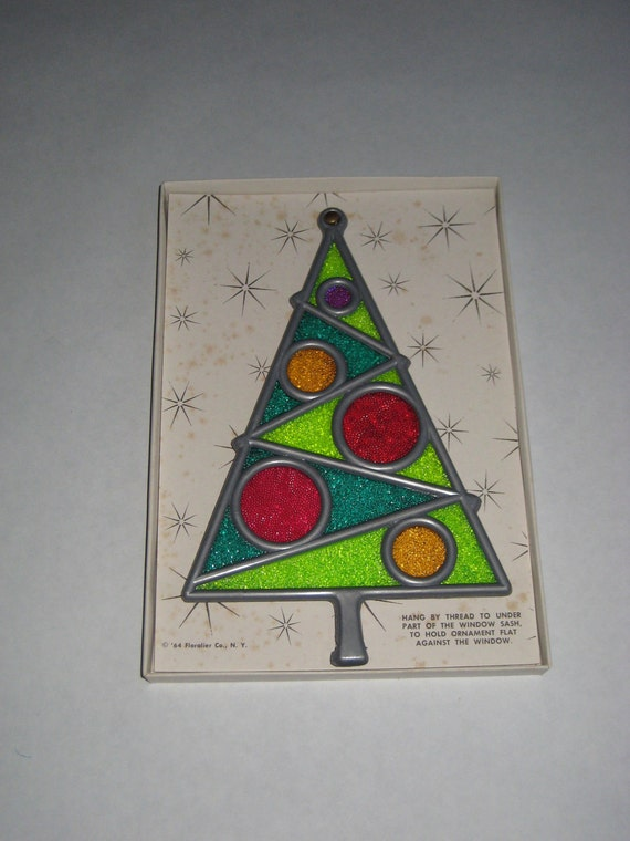 Christmas Tree window hanging Holiday Window View Retro Stained Glass