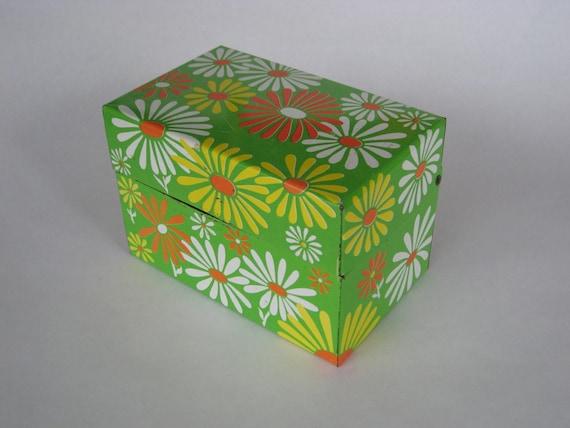 free shipping Daisy Flower Power Recipe Card box File card holder
