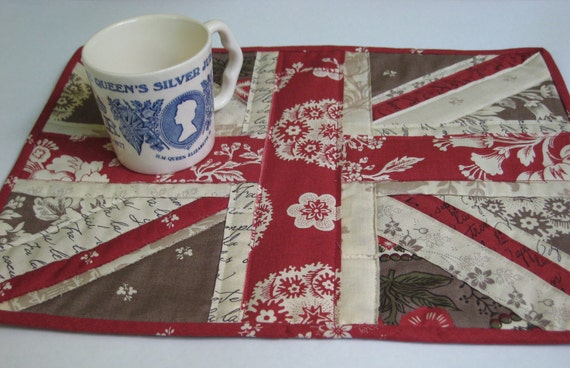 Union Jack Flag Shabby Chic English Cottage Quilted Mug Rug Queen Elizabeth II Diamond Jubilee London Olympics QE II Patchwork Wall Hanging