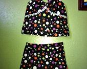 Girls Set /  Polka Dot Skort Set / Girls Polka Dot Skirt Set / International Shipping Available