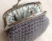 Grey Crochet Coin Purse
