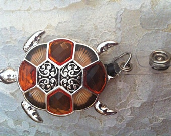 Ladies Silver Orange Turtle Sea turtle Crystal art designer Badge reel retractable ID Holder