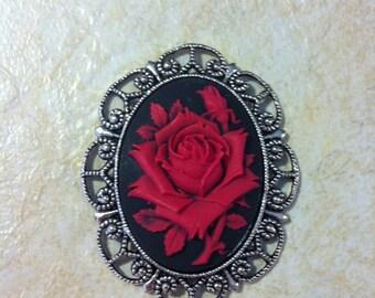 Rose Brooch Necklace Pendant Vintage Victorian Edwardian Cameo Glass  Wedding Red Black