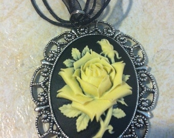 Black and Vintage White Cameo Ladies Silver Filegre art designer Necklace Pendant Mothers Day
