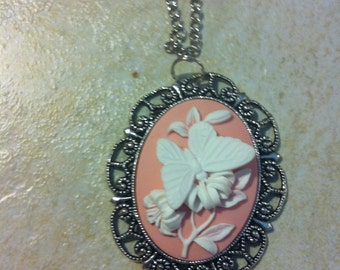 White and Pink Butterfly Cameo Ladies Silver Filegre art designer Necklace Pendant Mothers Day