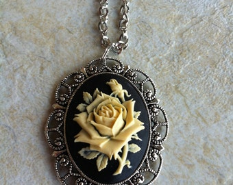 Black & Antique White Flower Girl Rose Cameo Necklace Pendant Vintage Victorian Style Cameo Scarf Purse Charm