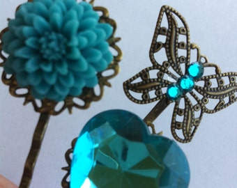 3 Floral Hair Pins Teal Blue Chrysanthemum Rose and Heart Butterfly Bobbies Bobby Antique Bronze Filigre