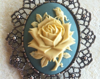 Shabby Chic Antique White and Teal blue Rose Brooch Pendant Vintage Victorian Cameo Scarf Purse Charm
