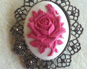 Shabby Chic White and Hot Pink  Rose Brooch Pendant Vintage Victorian Cameo Scarf Purse Charm