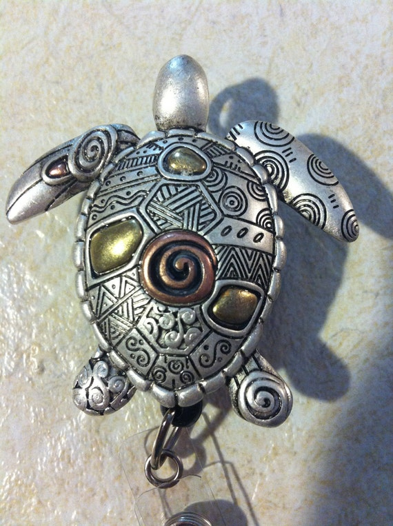 Kawaii Silver Filegre Turtle Sea turtle art designer Badge reel retractable ID Badge Holder