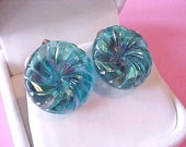 Very Pretty and Unusual Iridescent Blue Glass Vintage Earrings-Morning Glory Shape