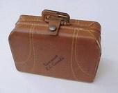 """Darling Little 1940's  Leather """"Suitcase"""" Souvenir Trinket Box-Souvenir of Vancouver B.C."""