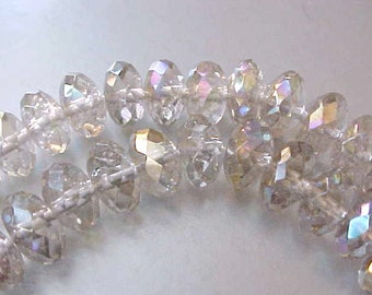 68 Beautiful Faceted Glass Beads with Aurora Borealis Finish