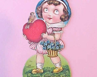 Darling Art Deco Era German Valentine Card-Little Girl Holding Heart with Bird on Top