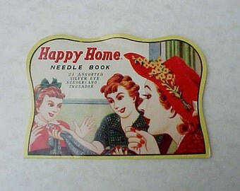 Cute Vintage 1940's Sewing Needle Book with Ladies Chatting While Sewing