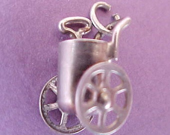 Little Sterling Silver Mechanical Cart Charm from the 1940's