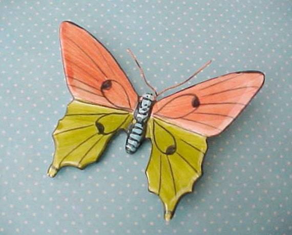 Darling Portuguese Pottery Hand Painted Butterfly to Hang on Wall